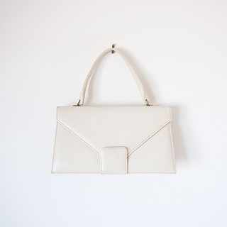1960s 'Aced' mod cream leather handbag by Space